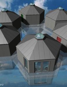 Exempel hotellrum på vatten i formation Stugbyn i Sverige AB
